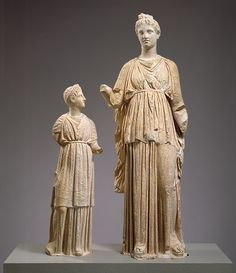 Statue of a young woman and a girl from a grave monument, ca. 320 B.C. Greek, Attic Marble