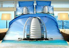 Realistyczna niebieska pościel z miastem Dubaj