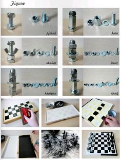 Ajedrez con tuercas / Chess with nuts & bolts Dyi Crafts, Crafts For Kids, Arts And Crafts, Quick Crafts, Diy Chess Set, Chess Sets, Do It Yourself Fashion, Chess Pieces, Diy Games