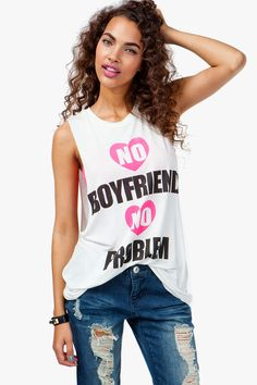 No Boyfriend No Problem Muscle Tank