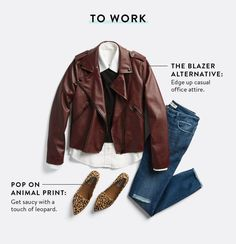 3 Ways To Wear A Moto Jacket 38508.  Knock-out look.  Does the jacket come in faux leather?  Love the color