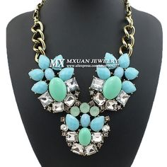 Big Fashion Classical Charm Inlaid Glass Crystal Flower Vintage style Necklace
