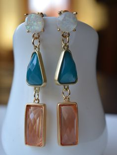Geometric Block Color Earrings-Faux Opal Peach by GlamNecessities