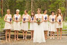 Cream bridesmaids with lavender bouquets