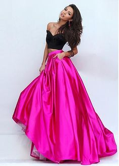 Marvelous Stretch Charmeuse Off-the-shoulder Two-piece A-Line Prom Dresses