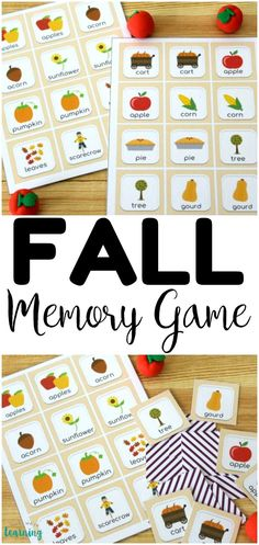 This printable fall memory game is such a fun way to get little ones ready for autumn! Pick it up for an easy fall busy bag idea! Quiet Time Activities, Autumn Activities For Kids, Fall Preschool, Fall Crafts For Kids, Kids Learning Activities, Fun Learning, Toddler Activities, Preschool Activities, Fall Games