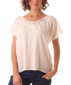 Loving this Off-White Lace-Yoke Scoop Neck Top on #zulily! #zulilyfinds