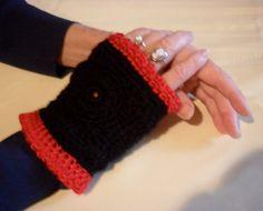 Fingerless Gloves Black and Red  2001FG by Pepperbelle on Etsy, $15.00