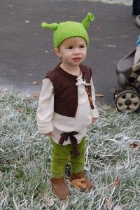 Shrek Halloween costume -- Shrek hat from Etsy -- clothes bought second-hand and repurposed
