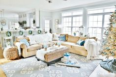 Coastal White Christmas Family Room - Sand and Sisal - Coastal Christmas Family Room - Coastal Cottage, Coastal Homes, Coastal Style, Coastal Decor, Beach Homes, Modern Coastal, Cottage Living, Coastal Family Rooms, Lake House Family Room