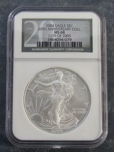 2004 *NGC MS68* American Silver Eagle -Black Label 20th Anniversary Collection
