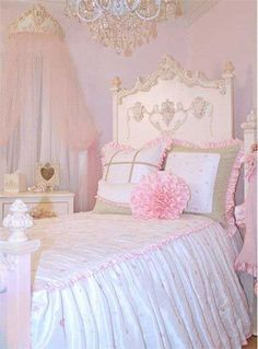 Miss Princess Bed Linens ~ Rosenberry Rooms - Beautiful, I love the whole room, the bed, the chandelier, all of it! Princess Bedrooms, Princess Room, Princess House, Decoration Shabby, Shabby Chic Decor, Rustic Decor, Girls Bedroom, Bedroom Decor, Bedroom Sets