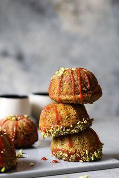 Rhubarb-Pistachio Mini Cakes
