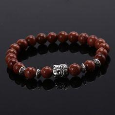 Natural Lava Stone Mala Prayer Beads Buddha Bracelet