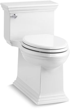 Kohler K-6428 Memoirs 1.28 GPF Compact Elongated One-Piece Comfort Height Toilet White Fixture Toilet One-Piece Elongated