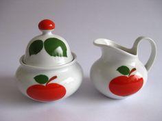 Vintage Patricia Porcelain Cream & Sugar with Red Apple Decor - Seltmann Weiden Bavaria West Germany. €29.99, via Etsy.