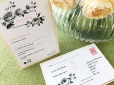 Pure Simplicity Lucien botanical rose wedding invitation and perforated reply card on the back in blush pink.