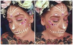 backstagebeauty - sugarskull, candyskull makeup look white and pink with gemstones Halloween Make Up, Halloween Face Makeup, Pink Skull, Candy Skulls, Sugar Skull, Makeup Ideas, Beauty Makeup, Makeup Looks, Carnival
