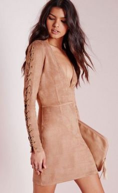 Faux Suede Lace up Detail Bodycon Dress