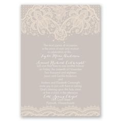 Joyous Occasion - Wedding Invitation - Traditional Vintage Floral Lace at Invitations By David's Bridal