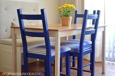 LOVE these chairs! I have some blue/butter yellow fabric that would look great for kitchen chairs. A girl can dream.....