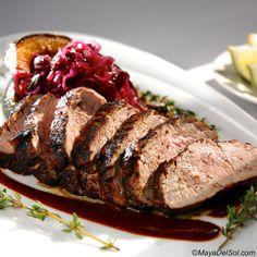 lomo de puerco | pork tenderloin, coffee rub, parsnip purée, braised cabbage, ancho-agave sauce