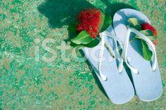 Jandals with Pohutakawa Flowers royalty-free stock photo Concrete Deck, Kiwiana, Image Now, Royalty Free Stock Photos, Flowers, Photography, Photograph, Fotografie, Photoshoot