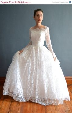 SALE  25 OFF 1950s wedding dress / vintage 50s by BreanneFaouzi, $148.50