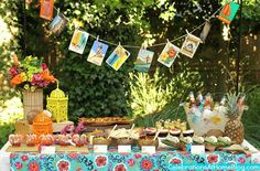 Tropical themed party set ups