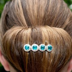 Elegant crystal bun barrette, available in 20 in-stock colors.
