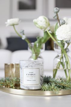 Candles and greenery styling