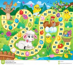 Board game image with Easter theme 1 - picture illustration. Easter Games, Easter Activities, Activities For Kids, Board Game Template, Printable Board Games, Math For Kids, Diy For Kids, Crafts For Kids, Educational Games For Kids