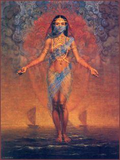 artsytoad:René Milot, The Pearl Fishers Art Sketches, Art Drawings, Goddess Art, Isis Goddess, Indian Art Paintings, Arabic Art, Belly Dancers, Fantasy Girl, Art Plastique