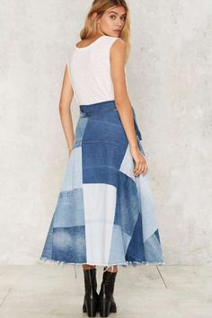After Party by Nasty Gal Patch Down Denim Skirt - Sale: 70% Off ...