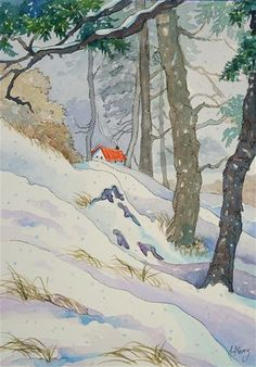 """Haven in the Snow Storybook Cottage Series"" - Original Fine Art for Sale - © Alida Akers"