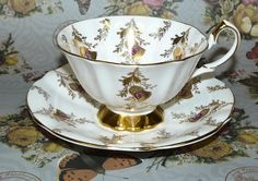 Queen Anne Heavy Gold Scottish Thistle Fancy Tea Cup and Saucer