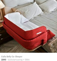 A co-sleeper is a baby bed that attaches to one side of an adult bed. It allows baby to remain close to the parents at night without actually being in the adult bed (which can be dangerous sometime… My Baby Girl, Our Baby, Do It Yourself Baby, Co Sleeper, Baby Nest, Everything Baby, Baby Time, Cool Baby Stuff, Baby Gifts