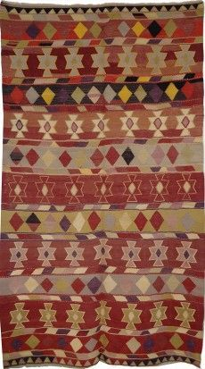 FLAT WEAVE COLLECTION DIMENSIONS: 165CM X 265CM Vintage Turkish Kilim in pure wool