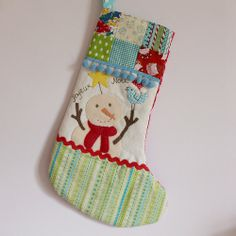 Christmas stocking snowman yllw star and bird