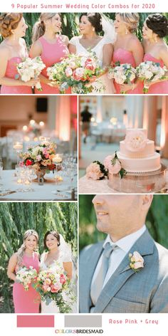 9 Popular Summer Wedding Color Combos for Rose Pink Grey. Purple Summer Wedding, Pink Wedding Theme, Winter Wedding Colors, July Wedding, Wedding Flowers, Dream Wedding, Wedding Color Combinations, Color Combos, Colour Trends