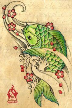 green koi carp sakura