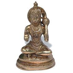 God Hanuman Statue Handmade Brass Sculpture Religious Gifts from India