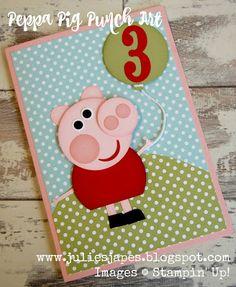 Julie Kettlewell - Stampin Up UK Independent Demonstrator - Order products 24/7: Peppa Pig Punch Art card