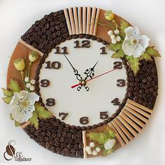 Подарки ручной работы. Цветы из фоамирана. МК. Clock Craft, Diy Clock, Clock Decor, Jute Crafts, Diy And Crafts, Coffee Bean Art, Coffee Crafts, Resin Table, Diy Art Projects