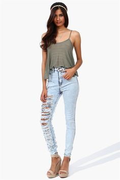 Slashed High Waist Skinnies Get 8% cash back http://www.studentrate.com/miami/get-miami-student-deals/Necessary-Clothing-Student-Discount--/0