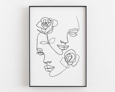 Woman face with rose Printable line art Face line art Abstract Line Art, Abstract Faces, Abstract Drawings, Art Drawings, Face Line Drawing, Drawing Faces, Drawing Hair, Gesture Drawing, Gemini Art