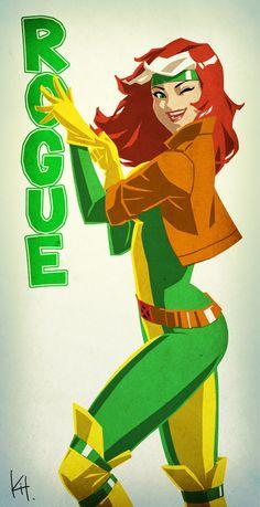 More Cool Marvel and DC Female Superhero Portraits — GeekTyrant More X-Men… Comic Book Characters, Marvel Characters, Comic Character, Comic Books Art, Comic Art, Gambit X Men, Rogue Gambit, Marvel Girls, Comics Girls