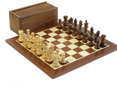Kings Golden Rosewood Bridled Knight & Mahogany Chess Board www.officialstaunton.com