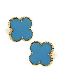 Made from turquoise and featuring 18-karat yellow gold, these Alhambra motif earrings are the definition of style. Because the gold bead setting surrounds the turquoise, the design provides an appealing contrast to the stone's mystic hue.