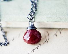 Burgundy Oxblood Pendant Wire Wrapped Red Stone Necklace Jasper Blood Vampire Halloween on Etsy, $55.00